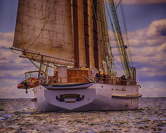 On The Mystic (joegeraci364) Tags: ocean new wood sea england cloud seascape heritage nature water weather race boat marine ship action yacht outdoor antique connecticut craft vessel atlantic maritime boating sail mast nautical schooner