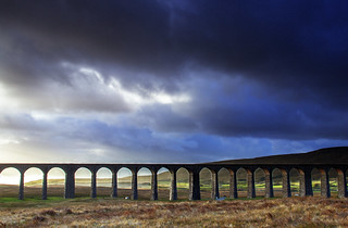 The remote Ribblehead viaduct in the Yorkshire Dales, England. UK