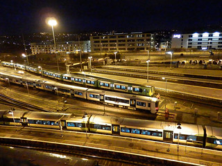 Electric Multiple Units at Night, Brighton. Sussex.