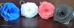 Porta guardanapos com flores de tecido (Simoni Rachid) Tags: de casa porta casamento decorao mesa guardanapos