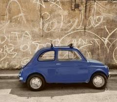500 blue (poludziber1) Tags: matera basilicata urban street summer blue 500 500fiat italia italy city colorful 15challengeswinner challengeyouwinner challengegamewinner