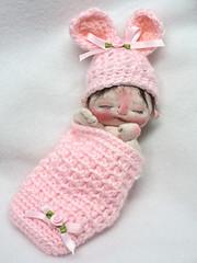 McKenzie (BeBe Babies and Friends) Tags: sculpture baby bunny bunnies easter miniature doll dolls babies ooak fabric newborn lamb bebe cloth