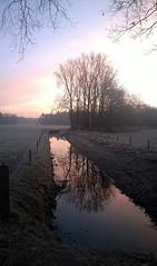 Sunrise Salland (Stonebridge65) Tags: cold reflection netherlands sunrise landscape nokia frost nederland fields mirroring salland olst diepenveen