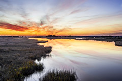 Salt Marsh Sunset - 123114-172334 (Glenn Anderson.) Tags: sunset water clouds reflections evening nikon grasses marsh tamron 2014 coolblue