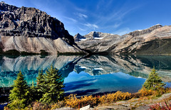 Reflection, Bow Lake, Banff National Park, Alberta, Canada (klauslang99) Tags: park lake canada mountains reflection nature water national bow northamerica banff naturalworld klauslang