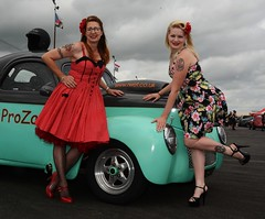 Rachael & Melanie_7029 (Fast an' Bulbous) Tags: girl girls woman women hot sexy chick babe dress high heels stilettos car vehicle willys hotrod pinup drag race santa pod england people outdoor