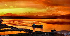 Scotland Greenock in the golden light of evening a dredger called Freeway heads up the river Clyde 30 May 2016 by Anne MacKay (Anne MacKay images of interest & wonder) Tags: scotland greenock golden light evening ship dredger freeway river clyde sky clouds mountains landscape xs1 30 may 2016 picture by anne mackay