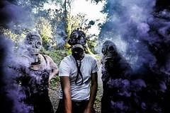 The Struggle (ogblaxz) Tags: elite epic inspiring awesome sigma people models nature grunge urban creepy masks gasmasks purple smokegrenades grenades smoke nikonphotography nikon