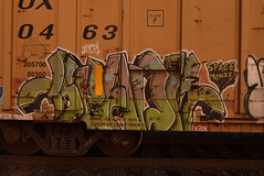 SPADE (TheGraffitiHunters) Tags: street art train graffiti colorful paint tracks spray boxcar graff freight spade benched benching