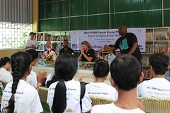 NBA  Wayne Ellington   WNBA  Sue Wicks   ACCESS  (USEmbassyPhnomPenh) Tags: greeting traditional cambodia wayne ellington sue wicks