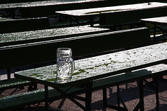 The morning after the night before. (joseph_donnelly) Tags: beer bier biergarten garden glass stein krug empty wet leer table bench bierbank bayern bavaria münchen munich morning early früh morgen