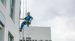 Window washer - Daikanyama, Tokyo (alexkane) Tags: blue sky man japan beard grey tokyo high cool scary dangerous asia cloudy helmet working hanging  ropes harness job washing geolocation 2016