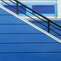 (msdonnalee) Tags: stairs stairway bannister blue blaubleuazzurroazul bleu blu azurro azul escalier escalera scala treppen dia diagonal   blau