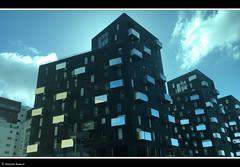 immeuble noir 2016+ (alexandrarougeron) Tags: jour nuage bleu ciel ville urbain style design immeuble noir faade fentre vitre france vitry