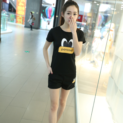 Daily specials plus size short sleeve t-shirts and shorts in the summer of self printed long women in sport and leisure, two-piece