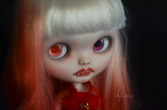 Bloody Rose - FA (Art_emis) Tags: bloody rose vampire custom blythe doll ooak red dyed hair ambrosial fbl mold azone pure neemo body posable white bangs carved teeth fangs takara photography artemis