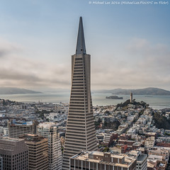 Transamerica Square Pano (Transamerica Pano) (Michael.Lee.Pics.NYC) Tags: sanfrancisco loewsregency transamericapyramid aerial coittower telegraphhill bay alcatraz angelisland square fog sony a7rm2 nikon nikkor50mmaf18d