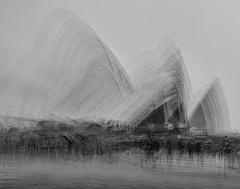 Sheltering from the rain (tara.bowen) Tags: sydney operahouse people multipeexposure sails blackandwhite bw monochrome movement crowd canon