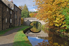 Reflections at Brearley (Halliwell_Michael ## More off than on this week #) Tags: calderdale westyorkshire nikond40x 2016 rochdalecanal autumn brearley towpath autumncolour trees bridge bridges reflection reflections reflectionslovers landscapes