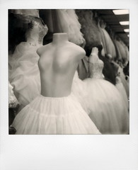 Topless In A Tutu (tobysx70) Tags: the impossible project tip polaroid slr680 frankenroid sx70 door rollers bw blackandwhite film for 600 type cameras instant impossaroid roidweek roid week polaroidweek fall autumn october 2016 topless in a tutu broadway dtla downtown los angeles la california ca mannequin showroom dummy wedding dress mexican shop store outfitters breasts boobs vanishing point ciclavia polawalk 101616 day4 toby hancock photography