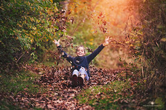 (Rebecca812) Tags: girl child autumn fun playful happiness throw falling leaves people childhood forest outdoors light cute armsoutstretched