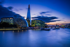 Sunset view of the Thames from Tower Bridge (lloydich) Tags: sunset shard thames river london blue water clouds