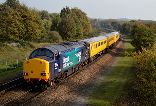 37609 passing Old Denaby with 37605 on rear of the 1Q05 Neville Hill to Derby RTC, 31st Oct 2014.