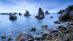 Blue Dreams. (dasanes77) Tags: longexposure sea seascape water night clouds sunrise landscape dawn rocks shoreline girona blackcard magiclight cloudsmovement canoneos6d bestcapturesaoi elitegalleryaoi samyang14mm28 caladelsfrares