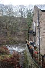 River Goyt from Low Lea Road (zawtowers) Tags: road bridge winter house cold water river december looking view cheshire walk balcony low peaceful calm stockport lea chilly serene flowing across marple 2014 downstream marplebridge goyt