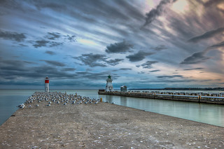 Sunset of lighthouse at Port Dover, Ontario