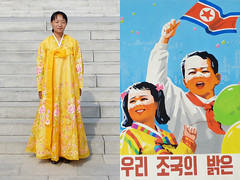 north korean beauty - pyongyang (Emmanuel Catteau photography) Tags: beauty yellow lady poster asia photographer dress propaganda flag north reporter korea national journey conde geo geographic nast traveler pyongyang