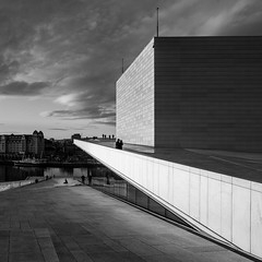 (Svein Skjåk Nordrum) Tags: roof light shadow sky people blackandwhite bw building monochrome lines oslo architecture clouds square construction opera bright perspective squareformat distagon 21mm snøhetta oslooperahouse