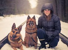 Sasha, Ella, Kristen (timothy.holt) Tags: winter portrait snow dogs shepherd maine brunswick german snowing
