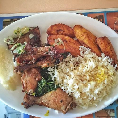 Amber smoked chicken, makemba, rice and pondu #foodporn #africa #kinshasa #drcongo #drc