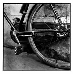 Bicycle #4 - Cambridge 2014 (Andrew Bartram (WarboysSnapper)) Tags: cambridge tlr bicycle wheel darkroom mediumformat chain delta3200 crank rollfilm yashicaa silvergelatin ddx mgfb ilfordphoto believeinfilm meoptamagnifax