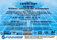 Communion, Tampere-Talo, 1995 (Sakari Karipuro) Tags: house history suomi finland flyer scan scanned techno rave flyers tampere nineties 1990s oldflyers