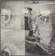 Two in one_Hasselblad (ksadjina) Tags: salzburg 6x6 film analog painting austria blackwhite christine scan rodinal hasselblad500cm silverfast koppl 6min kodak100tmax malersaal nikonsupercoolscan9000ed carlzeissdistagon40mmf14