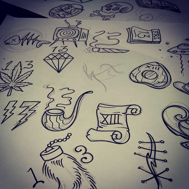 Another sneek peek. Friday the13th flash sheet. $13 tattoos plus $7 tip!  Rules: no necks, elbows, stomachs, hands. No changes! first come first served!  #tattooflash #fridaythe13th #seattletattoos #undertheneedletattoo
