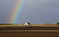 Rainbow Cottage. (artanglerPD) Tags: sky sunshine rainbow cottage fields ploughed