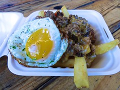 The Beast from Smothered Food Truck in San Francisco (Fuzzy Traveler) Tags: cheese mushrooms egg sausage fries hamburger peppers poutine foodtruck smothered somastreatfoodpark