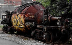 Relic from the Steel Age...defaced in silence (SnapperCR29) Tags: old railroad usa color abandoned pittsburgh decay steel rail relic