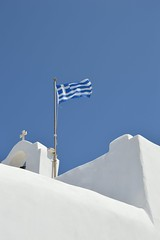 Paros isl,GR  (Monastery of St.John's the Baptiste in kolimpithres beach) (spiros_legenda) Tags: blue sea summer sky sun white church island islands cross flag aegean greece monastery paros naoussa