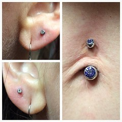 Navel piercing and earlobe piercings by Taylor Bell