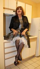 new80197-IMG_4797t (Misscherieamor) Tags: kitchen tv sitting feminine cd motel tgirl transgender mature sissy tranny transvestite crossdress ts gurl tg travestis travesti travestie m2f xdresser satindress tgurl petticoatshowing