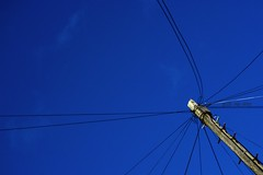 Skyline [Explored] (mik-shep) Tags: blue sky lines skyline wire cable pole comms 48 image19100 backdropofsky negativespaceproject 100xthe2015edition 100x2015 115picturesin2015