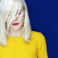 Yellow (MarionVolant) Tags: blue red summer woman selfportrait blur girl yellow electric hair daylight dress makeup lips blond 5d