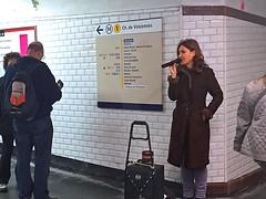 Singer in the Subway (AntyDiluvian) Tags: trip woman paris france station subway singing metro concorde singer streetmusician 2015 line1 streetsinger
