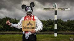 Destination - Dismaland (DRB Photography.co.uk) Tags: masks drb dan beecroft drbphotography ministyrofmasks game wwwdrbphotography mortimermouse dismaland destination mouse sign post blood hitchhiker disneyland mickeymouse somewherenice banksy