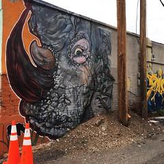 Caution, Rhino In Rino (pam's pics-) Tags: cameraphone city urban streetart art painting alley colorado denver co lodo rino rivernorth lowerdowntown pammorris pamspics hipsta appleiphone mobilephonephotography hipstamatic iphone6s