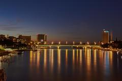Autobahnbrcke ber den Rhein in Basel (damianschaerer) Tags: brcke rhein basel schweiz swiss switzerland bridge cityscape city novartis industry industrie abend blaue stunde spazieren erholung promenade promenande